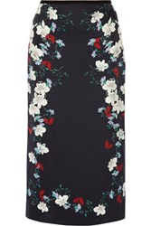 Erdem Maira Floral Print Silk Satin Midi Skirt Midnight Blue