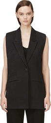 Avelon Black Zippered Sleeveless Blazer