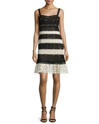 Nanette Lepore Sleeveless Lace Striped Dress Black Multi