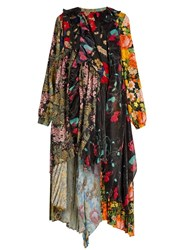 Balenciaga Romantic Ascot Patchwork Midi Dress Multi
