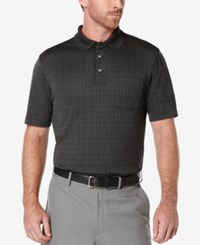 Pga Tour Men's Windowpane Plaid Golf Polo Caviar