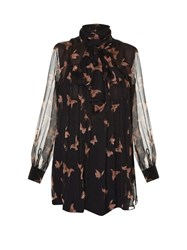Alexander Mcqueen High Neck Moth Print Crepon Blouse Black Nude