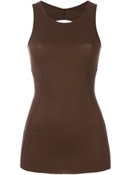 Rick Owens Lilies Open Back Tank Top Brown