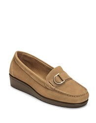 Aerosoles Parisian Suede Wedge Loafers Taupe