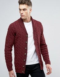 Asos Longline Shawl Neck Cable Cardigan In Wool Mix Burgundy Nep Red