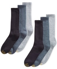 Gold Toe Men's 6 Pk. Harrington Extended Crew Socks Denim Asst.