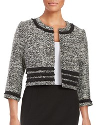 Karl Lagerfeld Tweed Fringe Trim Blazer Black White