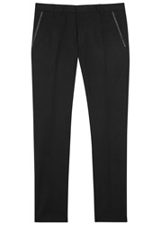 Hugo Halyk Faux Leather Trimmed Cotton Trousers Black