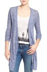 Junior Women's Volcom 'Ready To Go' Rib Knit Cardigan Navy