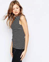 B.Young High Neck Striped Sleeveless Top Black
