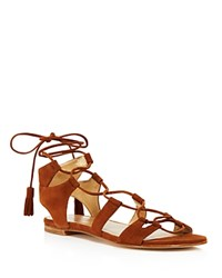 Stuart Weitzman Roman Lace Up Sandals Amaretto