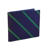 40 Colori Navy Green Striped Silk And Leather Billfold Wallet Blue Green