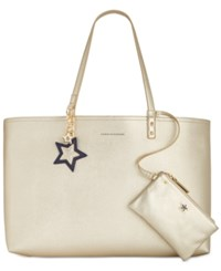 Tommy Hilfiger Tote With Pouch Metallic Gold