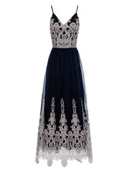 Chi Chi London Baroque Style Maxi Dress Navy