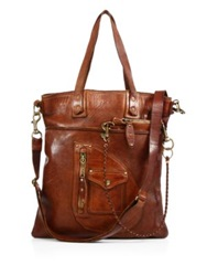 Polo Ralph Lauren Distressed Leather Tote Bag Cognac