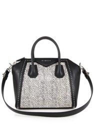 Givenchy Antigona Small Studded Leather And Spotted Snakeskin Satchel