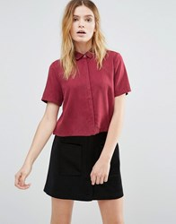 Native Youth Tencel Print Cropped Shirt Burgundy Red