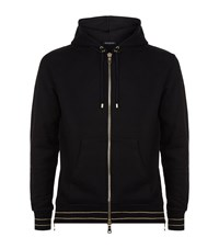 Balmain Golden Striped Zip Hoodie Male Black