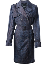 Allegri Leopard Print Trench Coat Blue