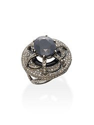 Bavna 2.23 Tcw Diamonds 0.97 Ct Blue Sapphire Ring And Sterling Silver Ring