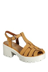 Refresh Citrus Woven Platform Sandal Brown