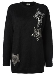 Saint Laurent Star Embellished Knit Jumper Black