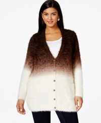 Melissa Mccarthy Seven7 Plus Size Button Down Eyelash Cardigan Brown