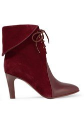 Chloe Leather Paneled Suede Ankle Boots Burgundy