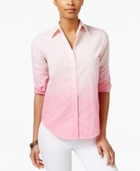 American Living Ombre Button Down Shirt Only At Macy's Pink Multi
