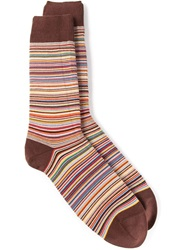 Paul Smith Striped Socks Brown