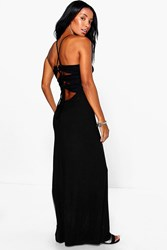 Boohoo Back Lace Up Tie Maxi Dress Black