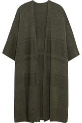 Raquel Allegra Ribbed Merino Wool And Cashmere Blend Cardigan Army Green