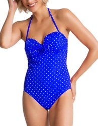 Spanx One Piece Bandeau Push Up Swimsuit Blue Dot