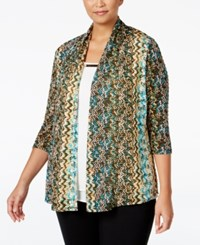 Ny Collection Plus Size Textured Knit Printed Cardigan Snake Cancan