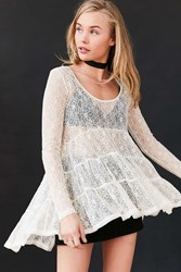 Ecote Lace Tiered Trapeze Top Ivory