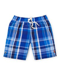 Ralph Lauren Captiva Plaid Swim Trunks Royal