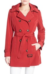 Women's Calvin Klein Double Breasted Trench Coat Crimson