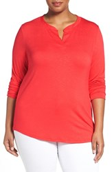 Sejour Plus Size Women's Split Neck Long Sleeve Tee Red Bloom