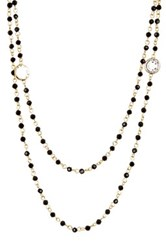 Nordstrom Rack Layered Rosary Glass Bead Necklace Black