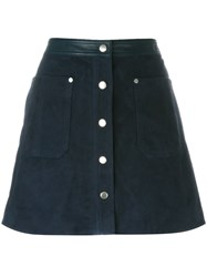 Rag And Bone Buttoned Mini A Line Skirt Blue