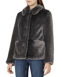 Reiss Alexia Faux Fur Coat Gray