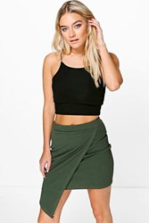 Boohoo Wrap Front Asymetric Mini Skirt Khaki