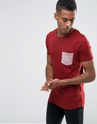 Jack And Jones T Shirt With Contrast Pocket Burgundy Red
