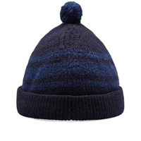 Nigel Cabourn Striped Pom Pom Hat Blue