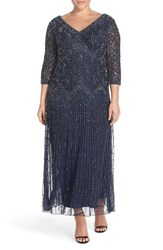 Plus Size Women's Pisarro Nights Beaded V Neck Lace Illusion Gown Navy