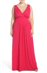 Tart Plus Size Women's 'Chloe' Print Empire Waist Jersey Maxi Dress Rose Red