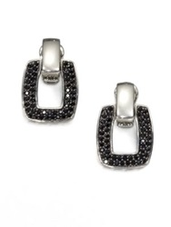 John Hardy Classic Chain Black Sapphire And Sterling Silver Doorknocker Earrings Silver Black