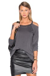 Chaser Raw Edge Cold Shoulder Tee Gray