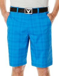 Callaway Performance Shadow Plaid Tech Shorts Blue