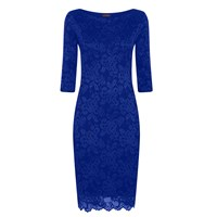 Hotsquash Long Sleeved Lace Dress With Thinheat Midnight Blue